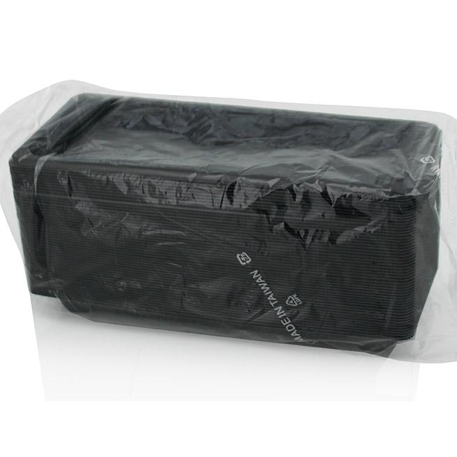 Bandeja Sushi yoki 0.8 negro 115x114mm con tapa 50 uds