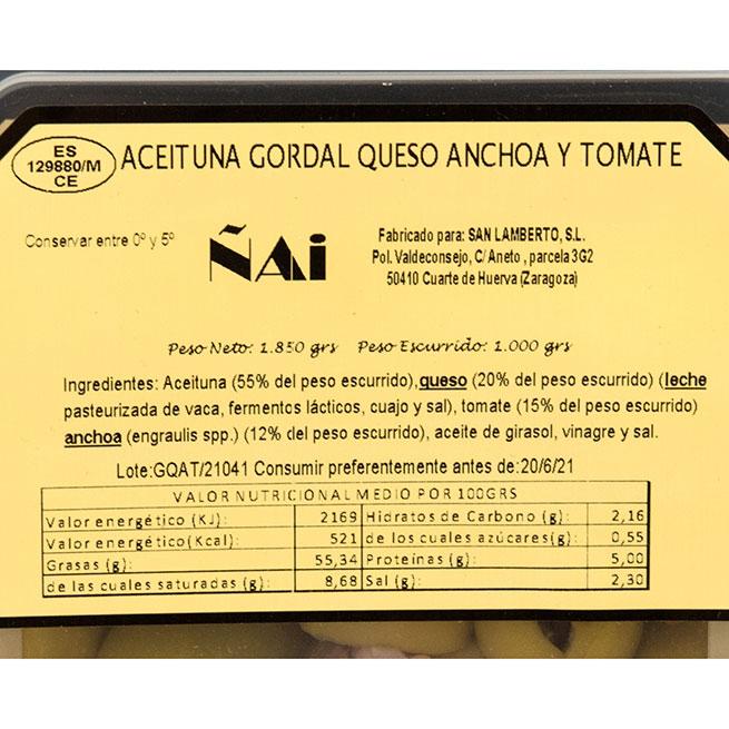 Banderilla de aceituna rellena queso anchoa y tomate 44/46 ud aproximadas