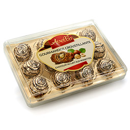 Bombones crujientes de chocolate con leche y avellanas 12 Bombones