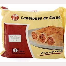 Canelon boloñesa con bechamel y queso bandeja