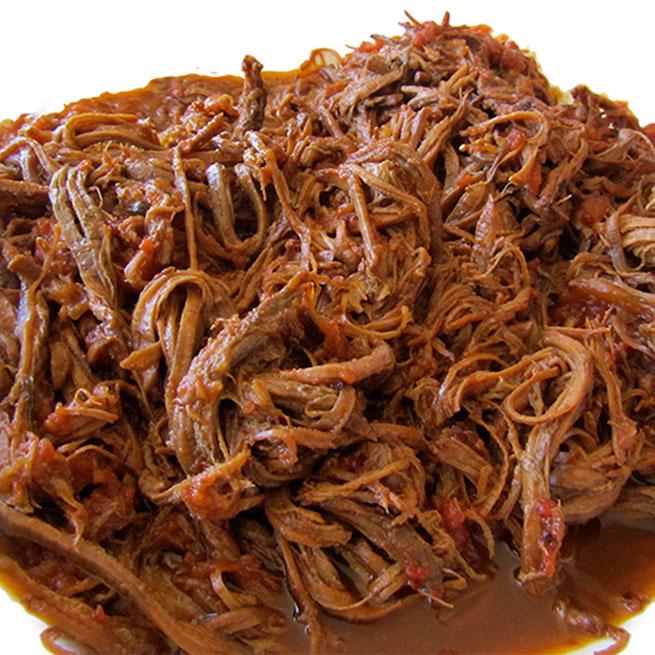 Carne mechada de cerdo con salsa barbacoa