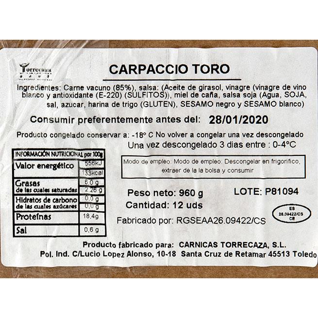 Carpacho de solomillo de toro 12Uds de 80Gr