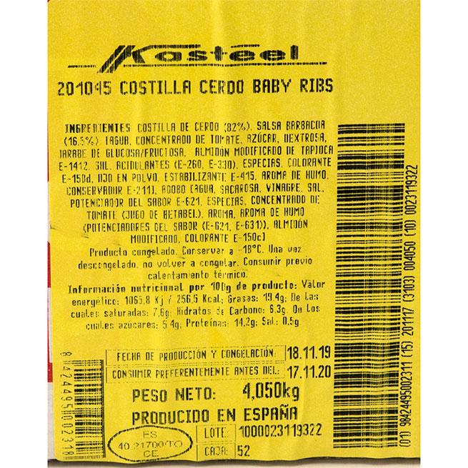 Costillas BBQ Baby Ribs 350Gr 10Uds