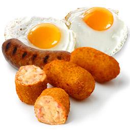 Croquetón de huevos fritos con chorizo 70Gr 10 Uds