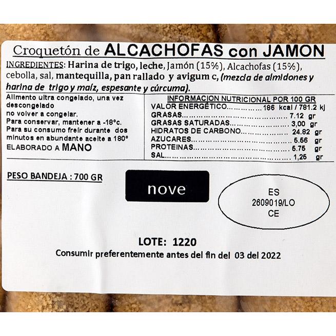 Croquetón de Jamón Ibérico y alcachofas 70Gr 10 Uds