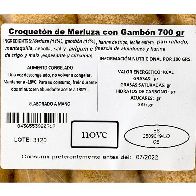 Croquetón de Merluza y Gambon 70Gr 10 Uds