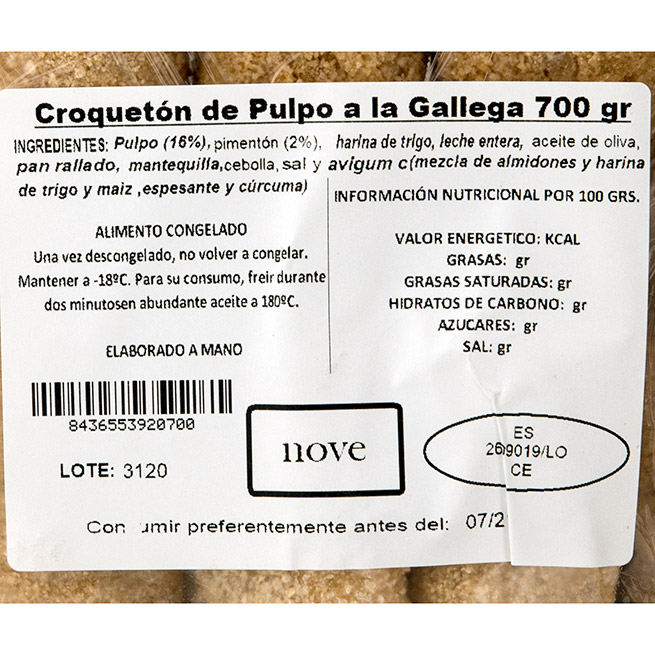 Croquetón de Pulpo a la Gallega 70Gr 10 Uds
