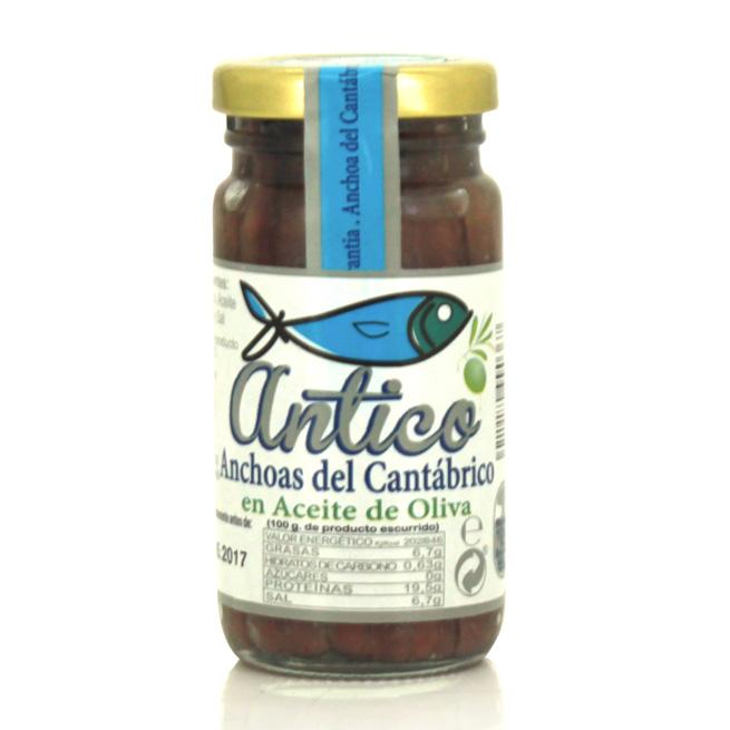 Filetes de anchoa en aceite de oliva del cantábrico Antico
