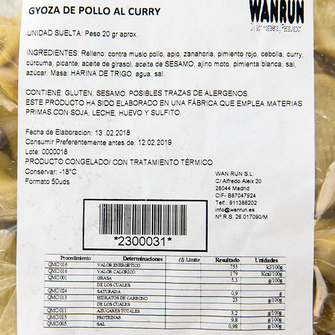 Gyoza de pollo al curry 50Uds x 20Gr