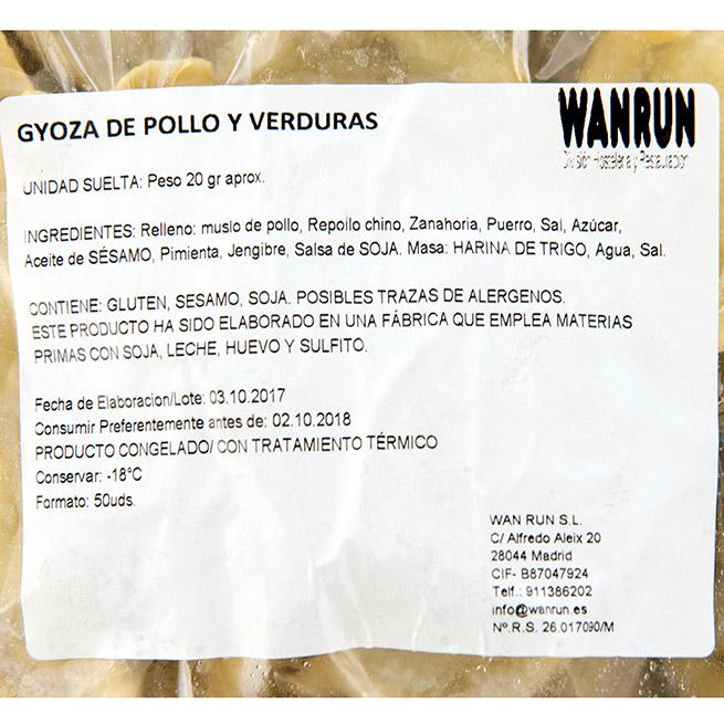 Gyoza de pollo y verduras 50Uds x 20Gr