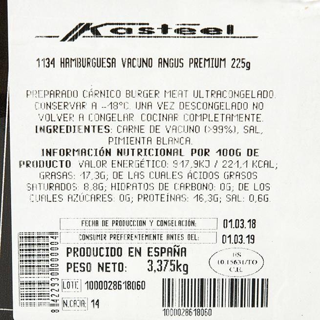 Hamburguesa de ANGUS vacuno especiada de 180Gr 20Uds
