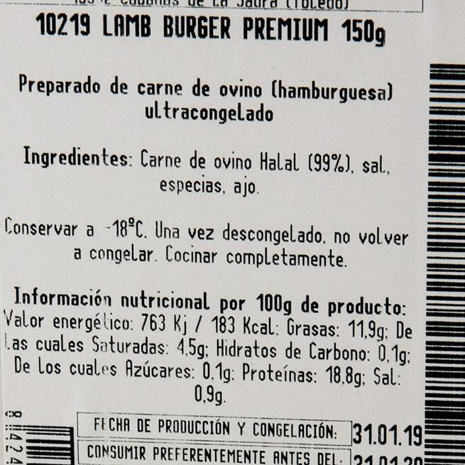 Hamburguesa de cordero 24Uds de 150Gr