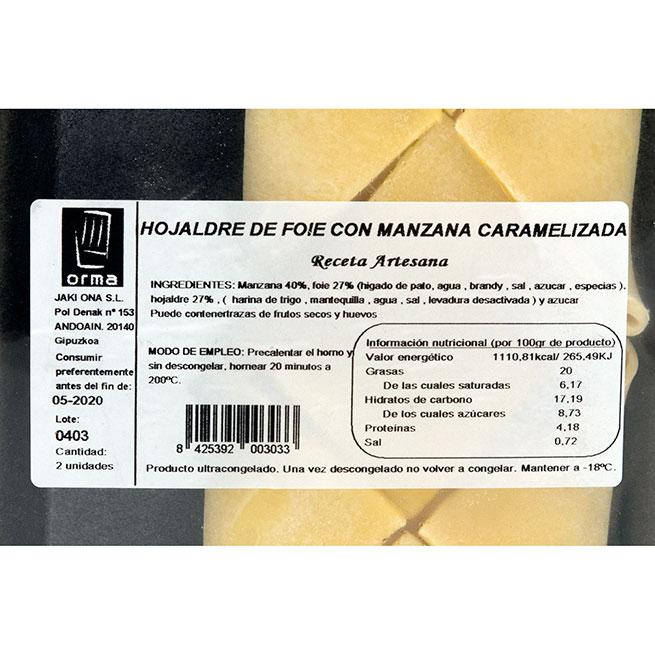 Hojaldre relleno de foie y manzana 2Uds de 120Gr