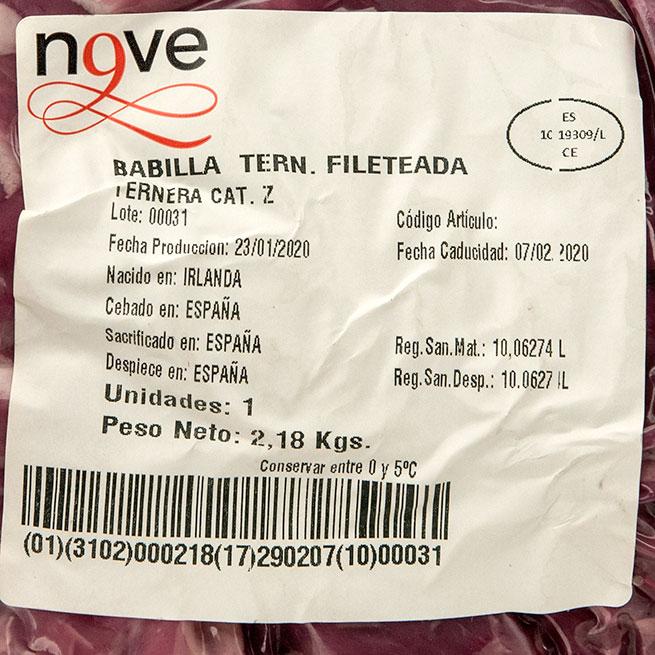 Media babilla de ternera fileteada fresca 2.5Kg aproximados