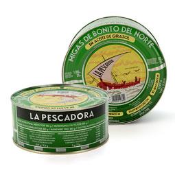 Migas de Bonito del norte 1150 gr en aceite  de la marca La Pescadora (Serrats)