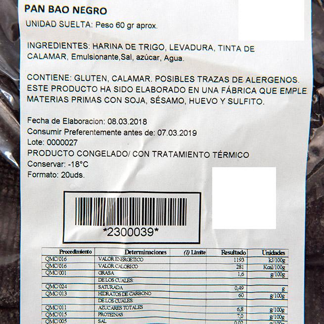 Pan Bao Cantones Negro 60Gr 25Uds