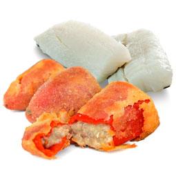 Pimientos del piquillo rebozados rellenos de bacalao 8 Uds