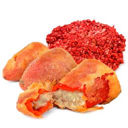 Pimientos del piquillo rebozados rellenos de carne 8 Uds