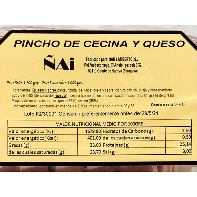 Pincho de cecina y queso 78/80 ud aproximadas