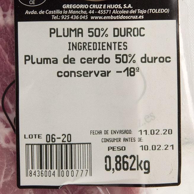 Pluma de cerdo 50% Duroc