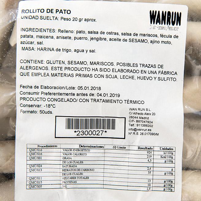 Rollito de pato 20Gr x 50Ud