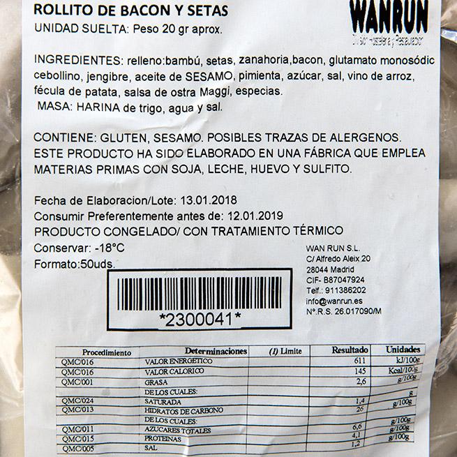Rollito de setas y bacon 30Gr x 50Ud
