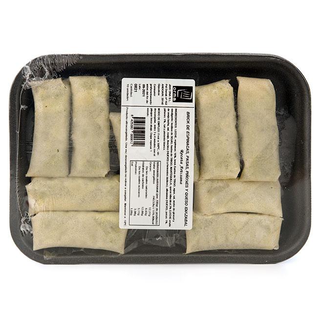 Rollito pasta brick de espinacas pasas piñones y queso idiazabal 10Uds