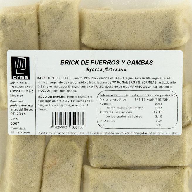 Rollito pasta brick de Puerros y Gambas 10Ud