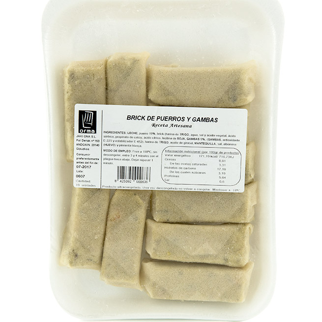 Rollito pasta brick de Puerros y Gambas