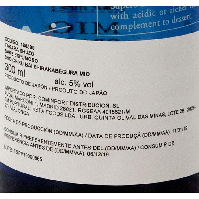 Sake takara mio 5% espumoso Alc 300Ml