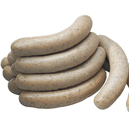 Salchicha bratwurst blanca con tripa natural