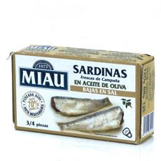 Sardina Miau en aceite de oliva baja en sal 125Gr
