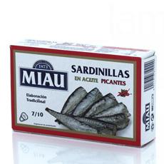 Sardinillas en aceite picantes Miau 85Gr 7/10 Pzs