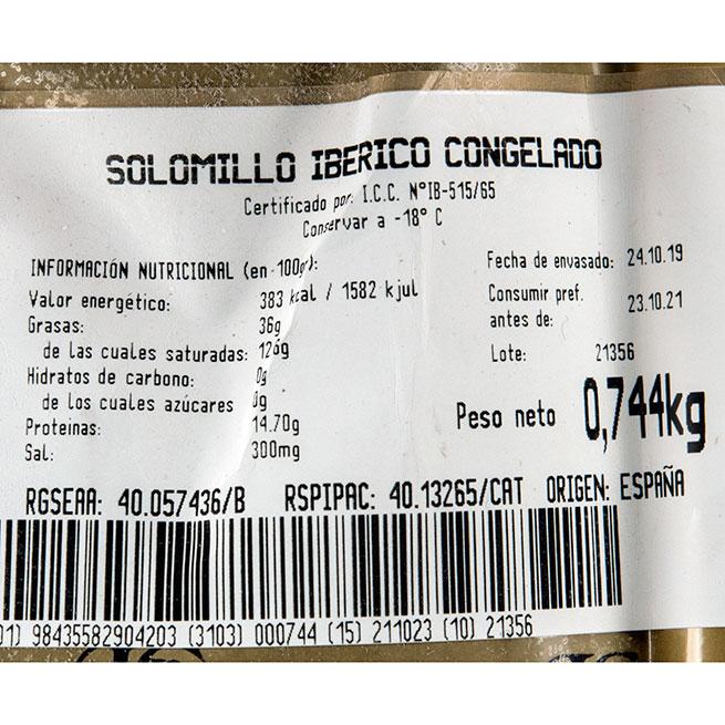 Solomillo de cerdo ibérico 2 unidades de +-350Gr