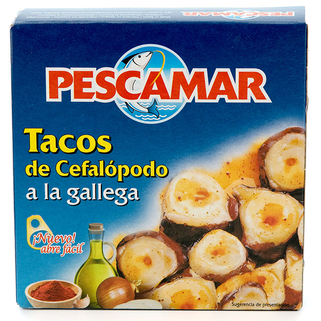 Tacos de cefalopodo a la gallega