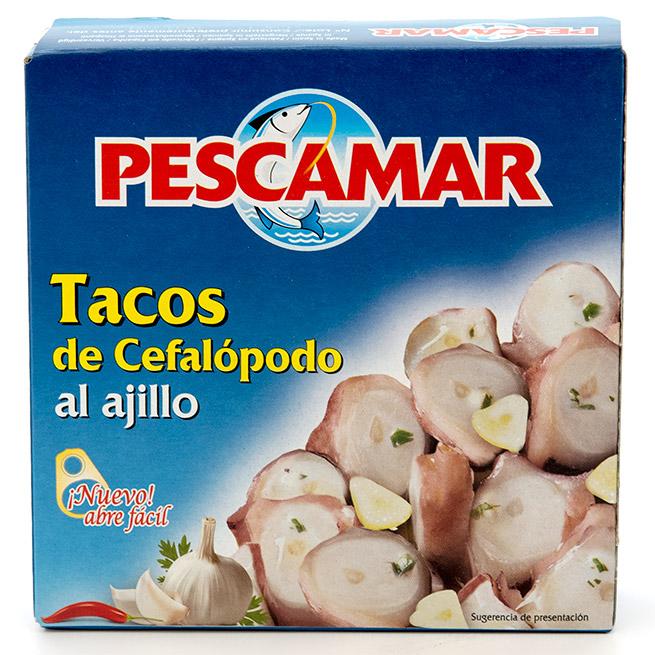 Tacos de cefalopodo al ajillo