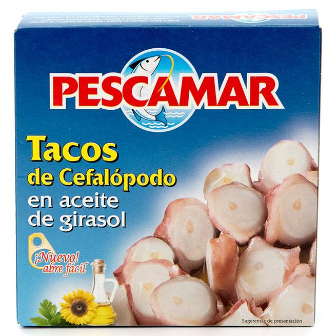 Tacos de cefalopodo en aceite