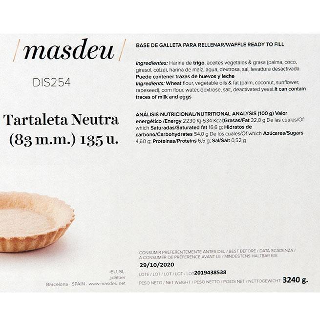 Tartaleta neutra de 26,6 g. (83mm x 16mm) Caja de 135 Uds. de la casa Masdeu
