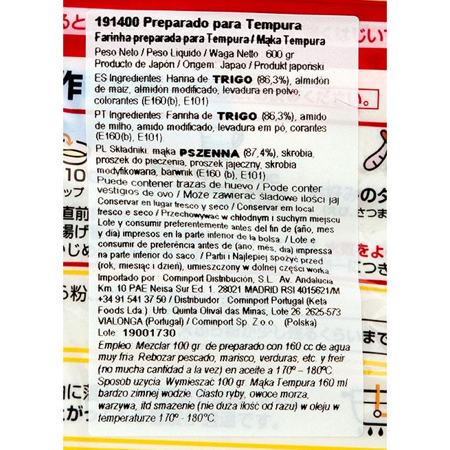 Tempurako harina de tempura 600Gr
