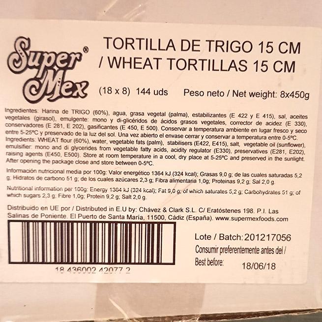 Tortilla de trigo 15Cm 18 Uds