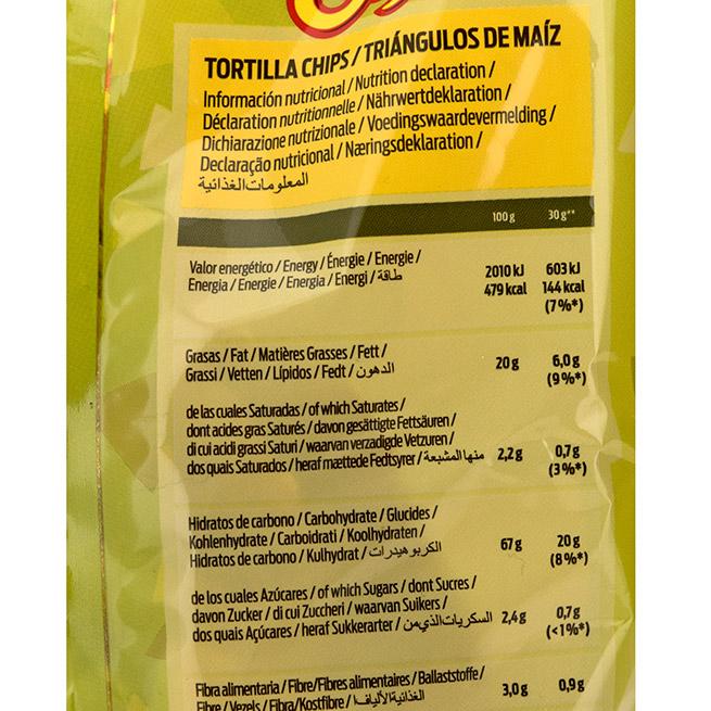 Tortitas chips tex mex valores nutricionales