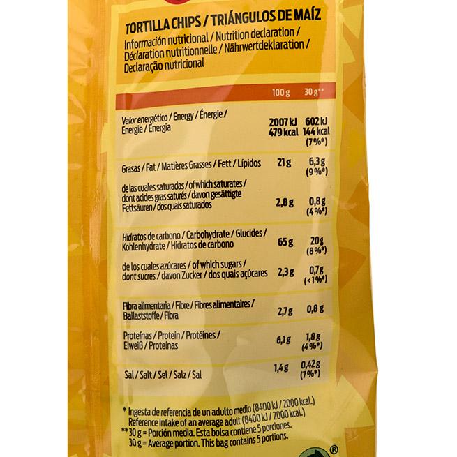 Triangulos para dipear sabor queso valores nutricionales