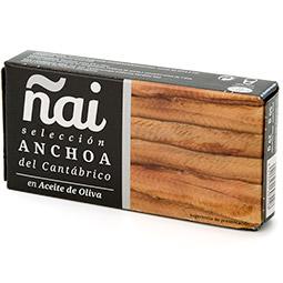 Trozos de filete de anchoa del Cantabrico en aceite de oliva lata