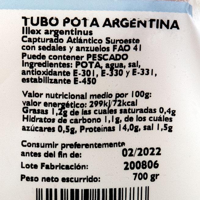 Vaina de pota Illex Patagonico