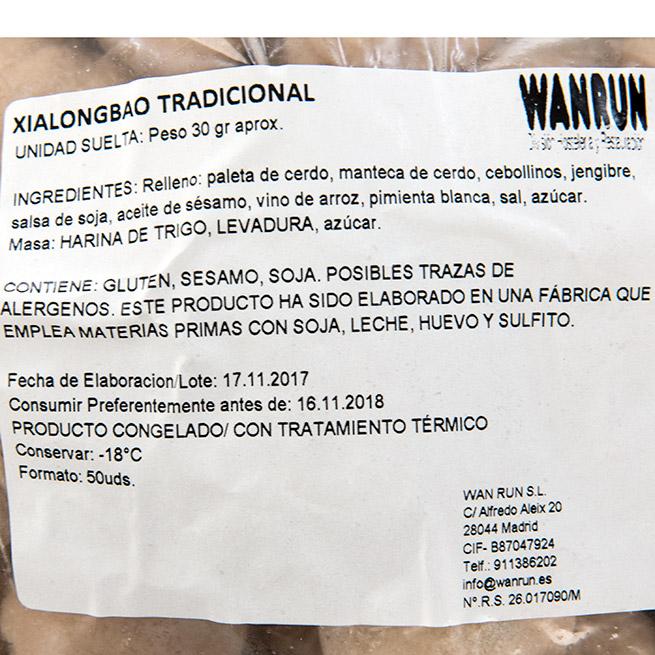 Xialongbao relleno de caldo de carne 50Uds x 30Gr